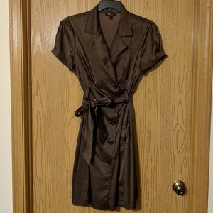 brown trench coat style dress size 16